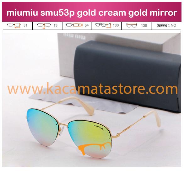 harga jual kacamata wanita terbarumiumiu smu53p gold cream gold mirror