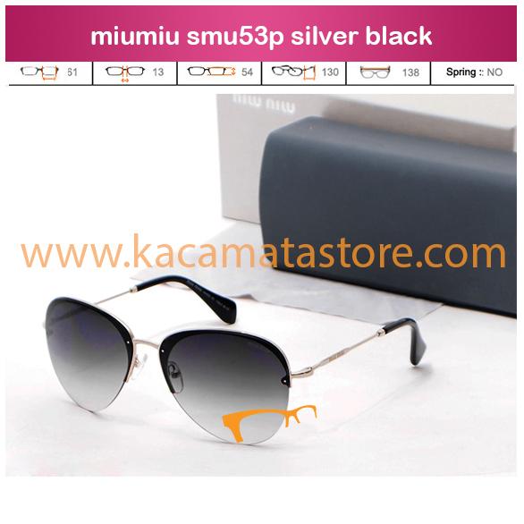 harga jual kacamata wanita terbarumiu miu smu53p silver black