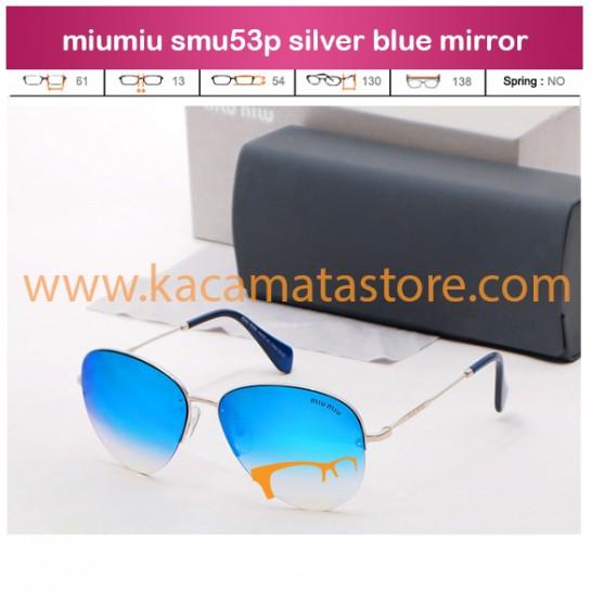 jual kacamata murah miumiu smu53p silver blue mirror