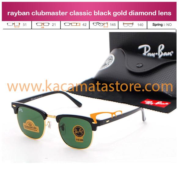 toko kacamata online jual kacamata rayban clubmaster classic black gold diamond lens