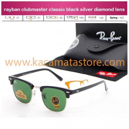 trend kacamata klasik rayban clubmaster classic black silver diamond lens hanya di jual kacamata online