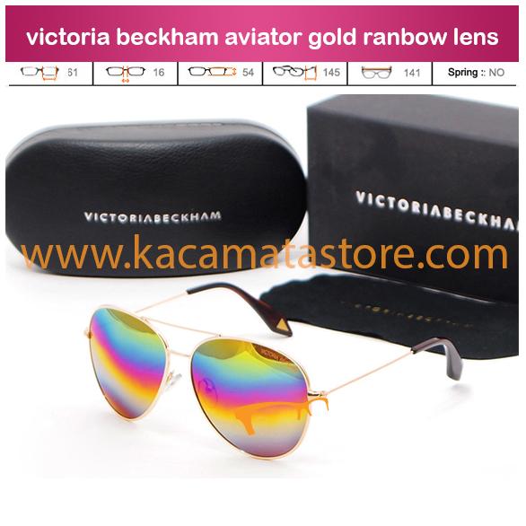 jual kacamata grosir dan eceran terbaru victoria beckham aviator gold ranbow lens