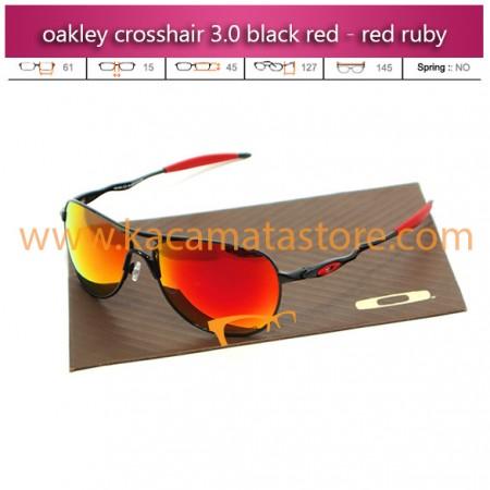 jual kacamata oakley terbaru crosshair 30 black red - red ruby
