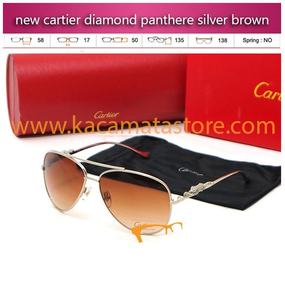 grosir kacamata gaya oria murah new cartier diamond panthere silver brown