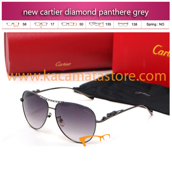 model kacamata gaya pria terbaru new cartier diamond panthere grey