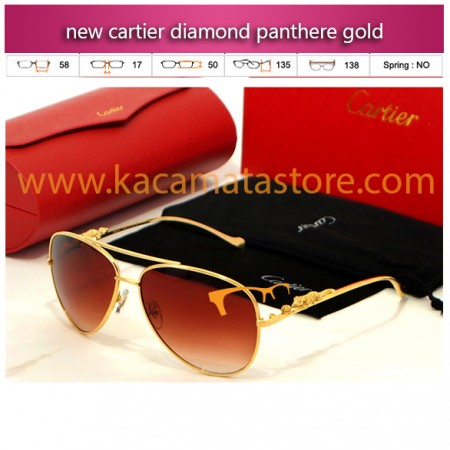 jual kacamata gaya new cartier diamond panthere gold