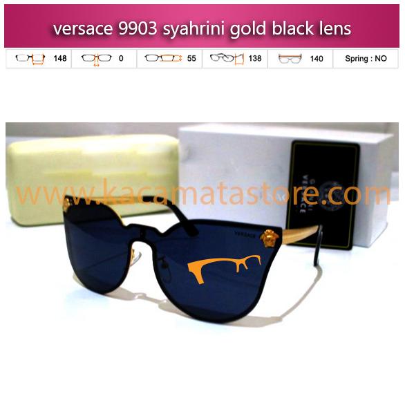 jual kacamata syahrini terbaru versace 9903 syahrini gold black lens