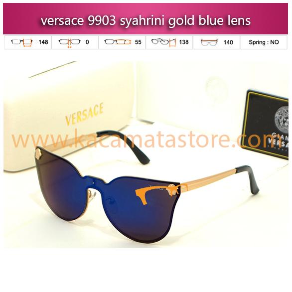 trend kacamata syahrini versace 9903 syahrini gold blue lens