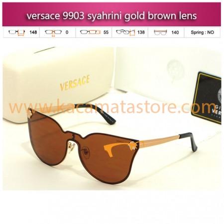 grosir kacamata syahrini terbaru versace 9903 syahrini gold brown lens