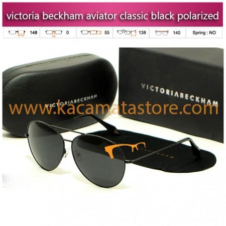 jual kacamata wanita merek victoria beckham aviator classic black polarized