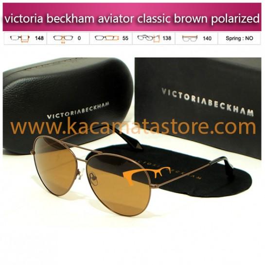 model kacamata wanita terbaru victoria beckham aviator classic brown polarized