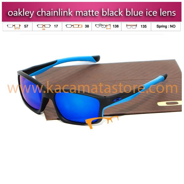jual kacamata oakley murah chainlink matte black blue ice lens