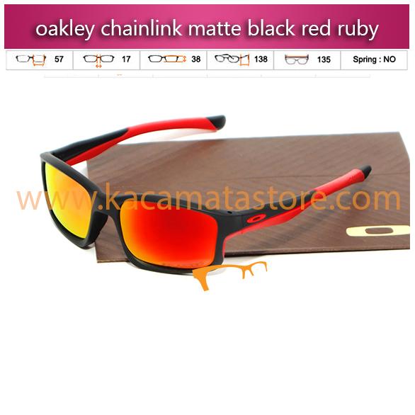 kacamata oakley terbaru chainlink matte black red ruby
