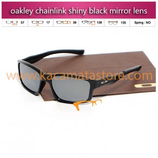jual kacamata oakley chainlink shiny black mirror lens