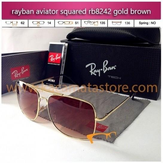 toko kacamata rayban kw aviator squared rb8242 gold brown