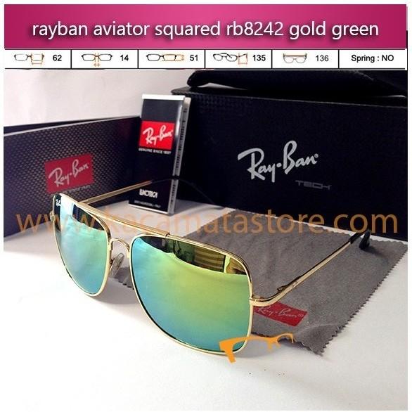 grosir kacamata rayban murah aviator squared rb8242 gold green