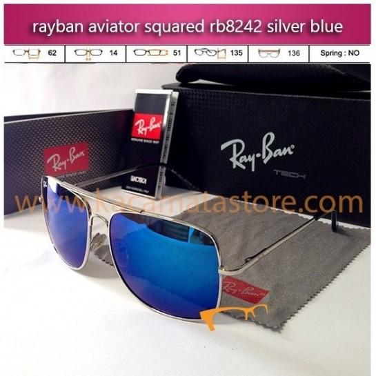 jual kacamata rayban model terbaru aviator squared rb8242 silver blue