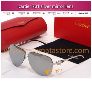 model kacamata gaya wanita terbaru cartier 781 silver mirror lens