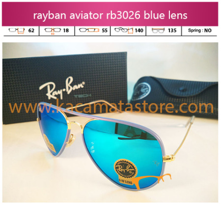 model kacamata rayban aviator terbaru rb3026 candy blue diamond lens