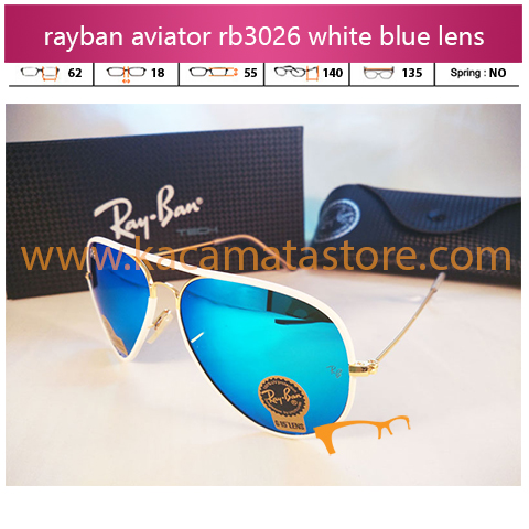 jual kacamata rayban aviator terbaru rb3046 white blue red diamond lens