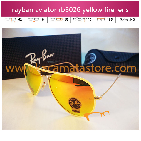 jual kacamata rayban aviator murah rb3046 yellow fire diamond lens