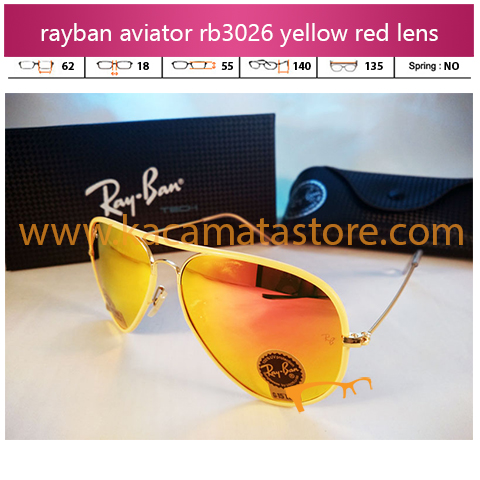 jual kacamata rayban aviator online rb3046 yellow red diamond lens