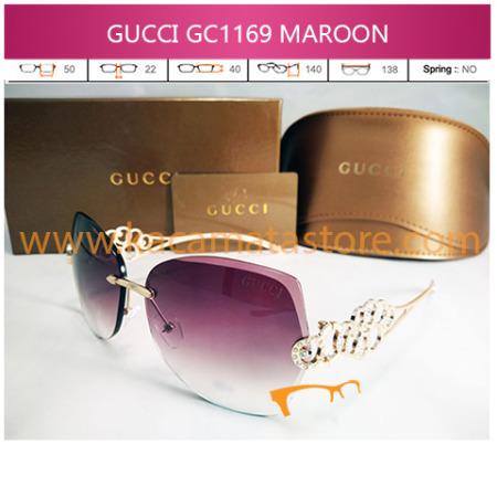 jual kacamata wanita terbaru gucci 1169 maroon