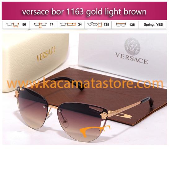 kacamata wanita model terbaru versace bor 1163 gold light brown toko kacamata online