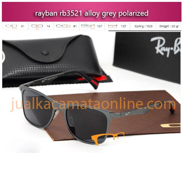 jual kacamata polarized terbaru rayban rb3521 alloy grey