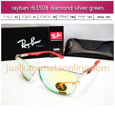 jual kacamata rayban rb3508 diamond silver green