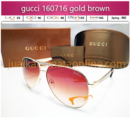 jual kacamata wanita terbaru gucci 160716 gold brown