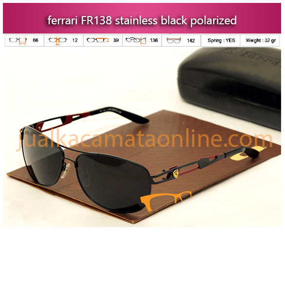 sunglasses kacamata ferrari fr138 stainless black polarized