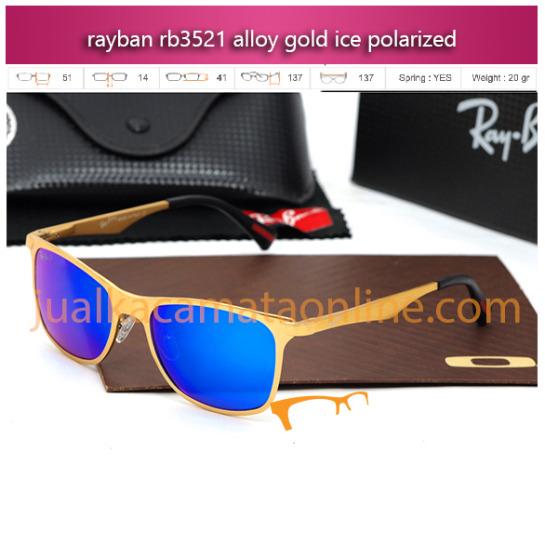 Jual Kacamata Polarized Rayban RB3521 Alloy Gold Ice
