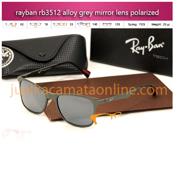 jual kacamata polarized rayban rb3521 alloy grey mirror lens