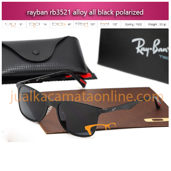 kacamata rayban rb3521 alloy all black polarized jual kacamata online