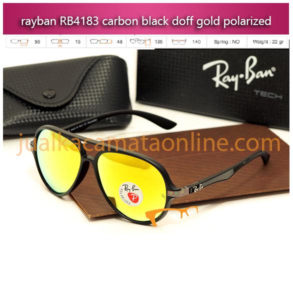 Jual Kacamata Rayban RB4183 Carbon Black Gold Polarized