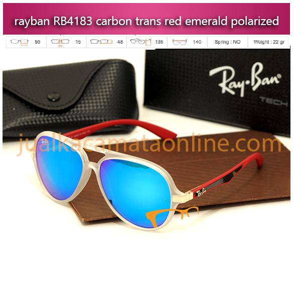 kacamata rayban rb4183 carbon trans red emerald