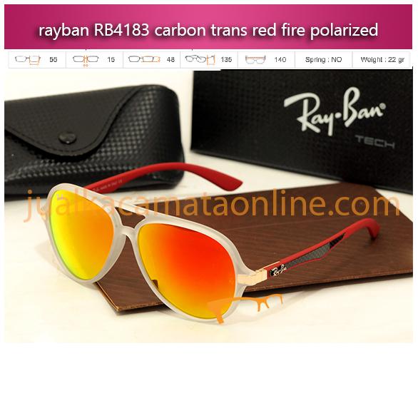 kacamata rayban rb4183 carbon trans red fire