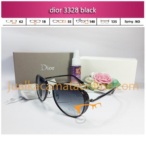 jual kacamata wanita terbaru dior 3328 black sunglasses