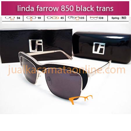 jual kacamata wanita linda farrow 850 black trans