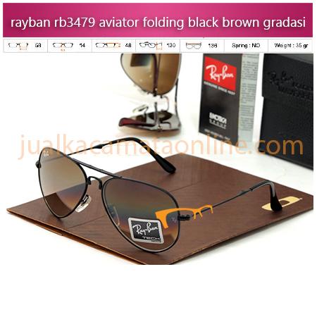 Jual Kacamata Rayban Aviator Folding RB3479 Black Brown Grad