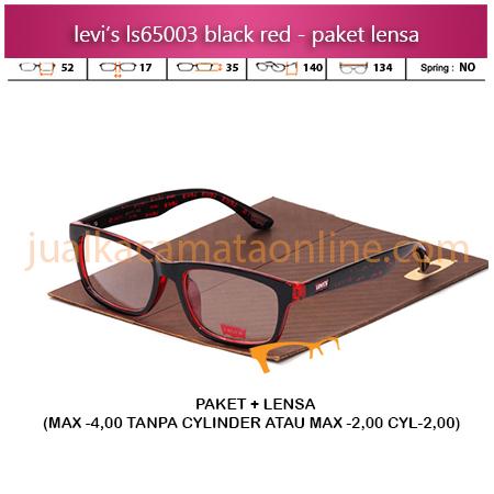 Harga Paket Frame Kacamata Levi's LS65003 Black Red