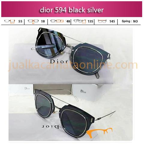 Toko Kacamata Dior 594 Black Silver