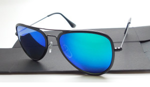 Ray Ban 3513 Aviator Flat Metal Black Blue Polarized