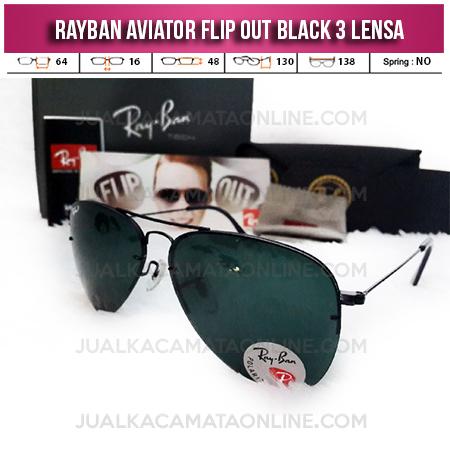 Kacamata Rayban Aviator Flip Out 3 Lensa Black