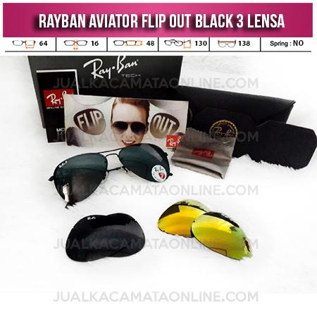 Jual Kacamata Rayban Aviator Flip Out 3 Lensa Black