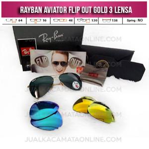 Harga Kacamata Rayban Aviator Flip Out 3 Lensa Gold