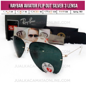 Toko Kacamata Rayban Aviator Flip Out 3 Lensa Silver