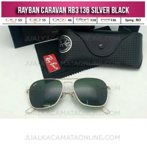 Kacamata Rayban Terbaru Caravan RB3136 Silver Black
