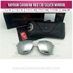Harga Kacamata Rayban Caravan RB3136 Silver Mirror